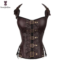 Coffee Steampunk Corset Women Sexy Neck Strap Black Gothic Corsets And Bustier Overbust Outwear corselet Top Fashion Corselet