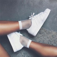 Streetwear Breathable Casual Fishnet Socks Women White Sexy Hollow Nets Ladies Sweet Mesh Lace Socks Ankle-High Fashion Hot