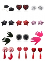 1Pair Women Sexy Sequin Nipple Covers With Tassels Heart Shape Nipple Stickers Pasties Sex Product Chest Stickers
