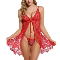 Summer Lace Nightgown Lace Nightgown Women Sleepwear Pyjamas Negligee Babydoll Sexy Bathrobe Female Home Clothes red S-XXL