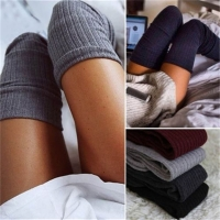 Women Winter Warm Solid Leg Warmers Knitting High Over Knee Socks AUTUMN Ruffle Trim Leg Warmers Boot Topper Socks