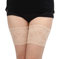 Sexy Lace Women's Thigh bands Anti friction with two rows of None slip silicone Leg Warmers size S to 4XL