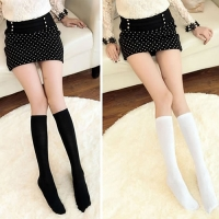 Fashion Women Soft Solid Color Below Knee High Boot Tube Socks School