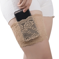 1pcs Women Anti-friction elastic Thigh Bands Sexy Lace Flower Women phone pouch Thigh Garters Cuffs Anti-slip Thigh Pocket