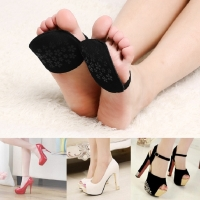 1 pair Women Forefoot Insoles Invisible High Heeled Shoes/Slip Resistant Half Yard Pads black/beige