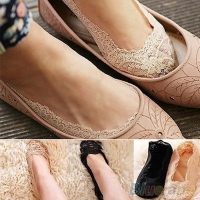 New Women Ladies Cotton Lace Antiskid Invisible Liner No Show Peds Low Cut Sock