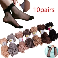 Sales promotion 10 Pair Women Socks Elastic Ultra-thin Transparent Short Crystal Socks Newest Fashion