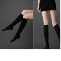 Good Quality Women Lower Knee Socks Thigh High Stockings Opaque Warm Japanese School Student Black Stripe Long Sock Hot Sale