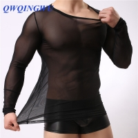 Man Undershirts Gay Nylon Mesh See Through Sheer Long Sleeves T Shirts Male Sexy Compression Navy Shirts Underwear Undershirt