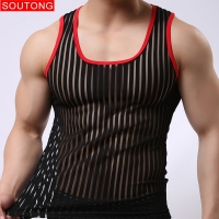 Soutong Mens undershirts sleeveless gay stripe Transparent solid tops tees vest mesh sexy male Bottoming Shirt Men Summer Wear