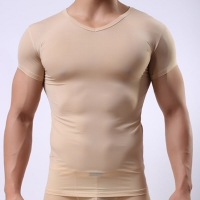 Man Beige Undershirt/Male Funny Ice Silk Transparent Basic Shirts/Gay Breathable V-neck See Through Tops