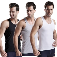 3pcs/lot Men's Underwear Cotton Mens Sleeveless Top Muscle Vest Undershirts O-Neck Gymclothing Asian size Men Under shirt