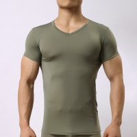 Man V-neck Underwear/Male Ice Silk Mesh Transparent Basics Shirts/Gay Funny Fitness Bodybuilding Undershirts