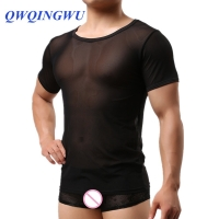 Men Sexy Undershirt Ultra-thin Casual Short Sleeves Men T-Shirt Brand Mesh Breathable Close-Fitting Men's Undershirts