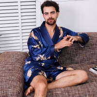 Bathrobe Shorts Two Piece Set Emulation Silk Kimono Men Sexy Robe Women's Night Gown Set Soft Cozy Long-sleeved Bath Gown M-5XL