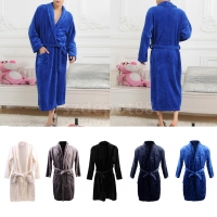 Men Women Shawl Collar Long Sleeve Wrap Belted Coral Fleece Robe Spa Bathrobe