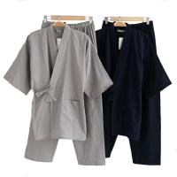 Male 2PCS Robe&Pants Home Wear Men's Cotton Kimono Sleepwear Set Solid Nightwear With Pocket Long Loose Pajamas Suit