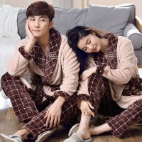 New Winter Bathrobe Soft Flannel Pyjama Couples Bathrobes Kimono Suit Dressing Gown Sleepwear Robes For Women Men Home Wear