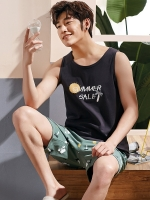 Men sleep Summer Cotton A263 Short Sleeve Shorts Youth Casual spring autumn usual men