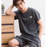 Men sleep Summer Cotton A230 Short Sleeve Shorts Youth Casual Cotton Summer Thin