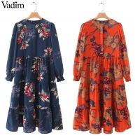 Vadim women floral print mid calf shirt dress long sleeve o neck pleated female casual retro midi dresses vestidos mujer QB295