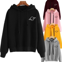 OEAK Women Hoodies Casual Kpop Planet Print Solid Loose Drawstring Sweatshirt Long Sleeve Hooded 2020 Autumn Female Pullover