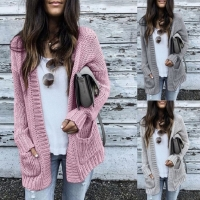 Autumn Winter Batwing long Sleeve Knitwear Cardigan Women smooth Knitted Sweater pocket design Cardigan Female Jumper Coat pink