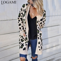 LOGAMI Long Leopard Cardigan Women'S Long Sleeve Autumn Winter Sweaters Fashion 2019 Women Long Coat