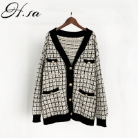H.SA Women Sweater Jacket 2019 Oversized Knitted Cardigans Loose Plaid Jumpers Korean Clothing Robe Long Coat sueter feminino
