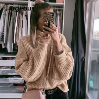 Fargeous Khaki Turtleneck Women Sweater Autumn Winter Long Sleeve Jumper 2019 Knitted Loose Fashion Pullover Femme