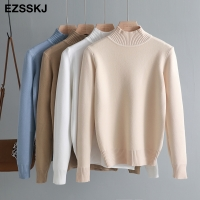 Korean Style Loose Sweater Women Pullover Casual Half Turtleneck Long Sleeve Knit Sweater Female Jumpers  solid basic sweater