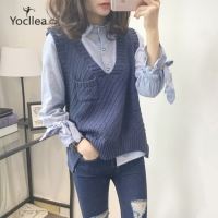 V-Neck Sweater Sleeveless Vest women New with Pokcet Irregularity knitted Sweaters Office Lady Loose fashion vests Tops