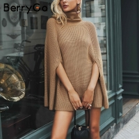 BerryGo Turtleneck oversize knitted sweater female poncho Camel loose casual pullover women 2018 Autumn warm black winter jumper