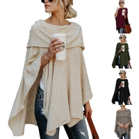 Off Shoulder Knitted Cloak Irregular Sexy Women Sweater Fashion Polyester Slash Neck Pullover Ladies Autumn and Winter Tops