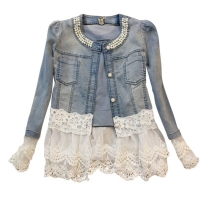 Autumn Office Lady Long Sleeve Denim Jacket Women Lace Patchwork Pearls O-neck Jeans Coat Single Breasted Female Top