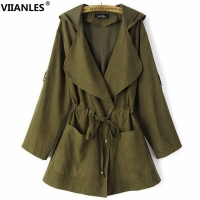 VIIANLES Army Green Bomber Jacket Spring Autumn Jacket  And Coats Female Casual Women Coats Basic Outwear Jackets Long Coat