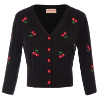 Autumn Winter Women Cropped Length Sweater Jacket Fashion V-Neck 3/4 Sleeve Cherry Embroidery Coat Female Knitted Tops Plus Size