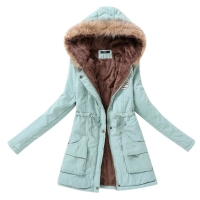 Winter Jacket Women Fur Collar Parkas Slim Zipper Parkas Wool Hat Belt Hoodie Thicken Winter Coat Outwear Long Female Snow Coat