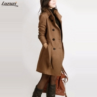 Luzuzi long sleeve winter wool coat women Europe style plus size casaco feminino ladies autumn new Slim long woolen coats Z5405
