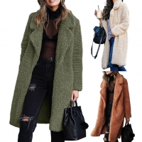 Women Winter Thicken Plush Lapel Solid Color Long Sleeve Warm Cardigan Midi Coat Polyester Fiber Spandex Women's Coat winter
