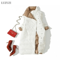 LUZUZI Women Double Sided Down Long Jacket Winter Turtleneck White Duck Down Coat Double Breasted Warm Parkas Snow Outwear