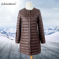 2019 Schinteon Women Down Jacket Ultra Light White Duck Down Long Coat Thin Inner Bottoming Garment Slim Autumn New Arrival