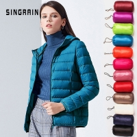 SINGRAIN Women Down Jacket Hooded 95% Duck Warm Overcoat Solid Portable Outerwear Large Size Ultra Light Down Coat Winter