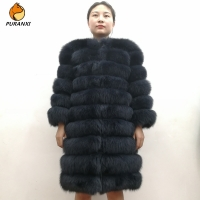 100% Natural Real Fox Fur Coat Women Winter Genuine Vest Waistcoat Thick Warm Long Jacket With Sleeve Outwear Overcoat plus size