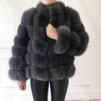 100% true fur coat Women's warm and stylish natural fox fur jacket vest Stand collar long sleeve leather coat Natural fur coats