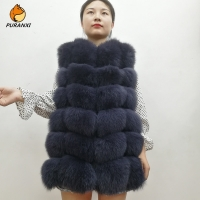 2019 New Fashion Natural Real Fox Fur Vest Jacket Waistcoat Gilet Women Short Sleeveless Winter Thick Warm Luxury Genuine Coats