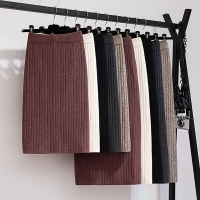GIGOGOU 60-80CM Elastic Band Women Skirts Autumn Winter Warm Knitted Straight Skirt Ribbed Ribbed Mid-Long Skirt Black