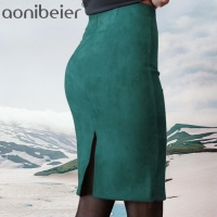 Aonibeier Women Suede Solid Color Pencil Skirt Female Autumn Winter High Waist Bodycon Vintage Split Thick Stretchy Skirts