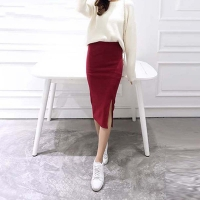 Autumn Winter Bodycon Skirt Women Stretchable Split Skirt Mid Calf Slim Pencil Skirts For Women Female Knit Skirt