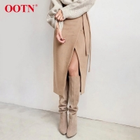 OOTN Khaki Suede Long Skirt Women Autumn Winter Casual Wrap Skirt Lace Up Women High Waist Midi Skirt Office Ladies Elegant 2019